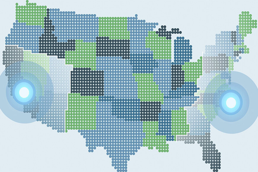 Digital image of United States map in green and blue